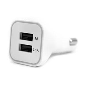 3.1A Dual USB 12-24V Universal Car Charger - White