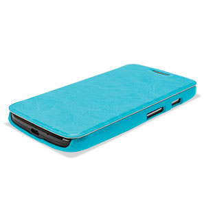 Pudini Leather Style Flip Case for Moto G - Blue
