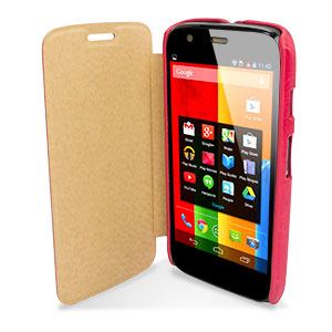 Leather Style Flip Case for Moto G - Pink
