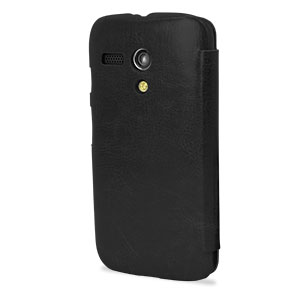 Pudini Leather Style Flip Case for Moto G - Black