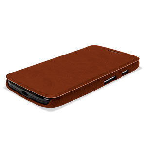 Pudini Leather Style Flip Case for Moto G - Brown