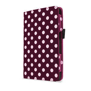 Stand and Type Case for Kindle Fire HD 2013 - Purple Polka