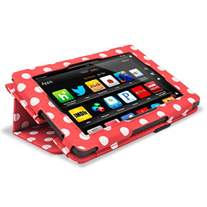 Stand and Type Case for Kindle Fire HD 2013 - Red Polka