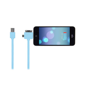 STK 3 in 1 Data and Charging Cable with 8Pin Connector - Blue
