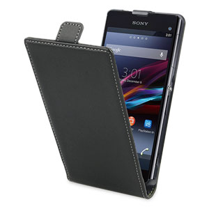 Muvit Slim Leather Style Flip Case for Sony Xperia Z1 Compact - Black