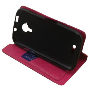 Stand and Type Folio Case for Wiko Cink Five - Pink