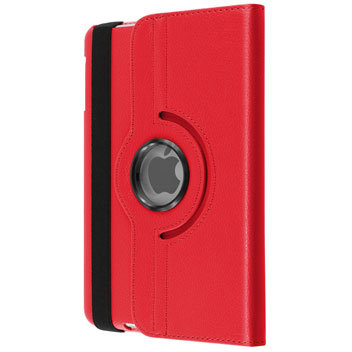 Leather-Style Rotating iPad Mini 3 / 2 / 1  Stand Case - Red