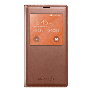 Official Samsung Galaxy S5 S-View Premium Cover Case - Rose Gold