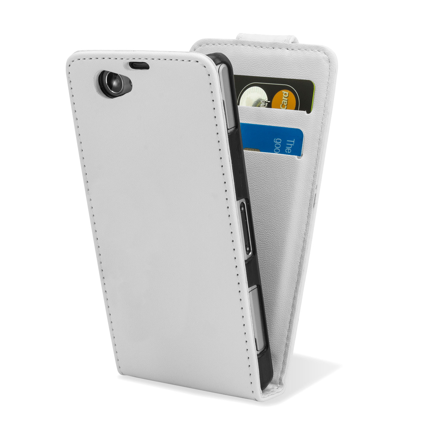 Qubits Faux Leather Flip Case for Sony Xperia Z1 Compact - White
