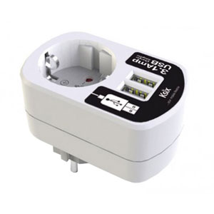 Ksix 3.1A Dual USB and EU Mains Charger - White