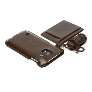 Zenus Synthetic Leather Necklace Holder for Samsung Galaxy S5 - Brown