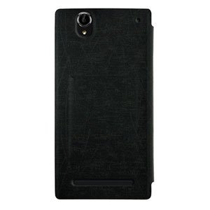 Metal-Slim Sony Xperia T2 Ultra Leather Case with Stand - Black