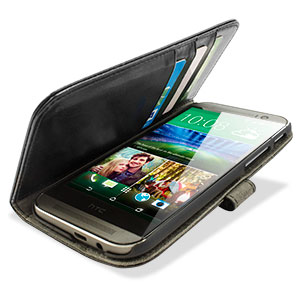 Adarga Leather Style Wallet Case for HTC One M8 - Black