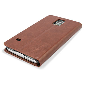 Adarga Leather-Style Wallet Case for Samsung Galaxy S5 - Brown