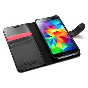 Spigen Slim Samsung Galaxy S5 Wallet Case - Black
