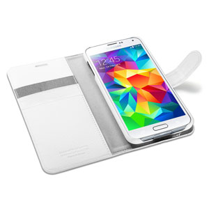 Spigen Slim Samsung Galaxy S5 Wallet Case - White