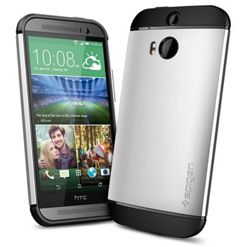 Spigen Slim Armor HTC One M8 Case - Satin Silver