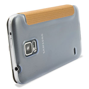ROCK Elegant Samsung Galaxy S5 Side Flip Case - Champagne Gold