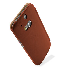 brand new 842a8 81a1b Pudini HTC One M8 Leather-Style Flip Case - Brown
