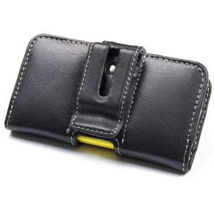 PDair Horizontal Leather Pouch Nokia Asha 210 Case - Black