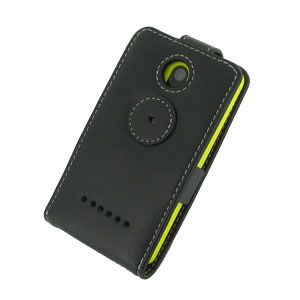 Pdair Leather Flip Nokia Asha 210 Case - Black