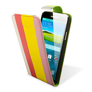 Adarga Leather-Style Galaxy S5 Wallet Flip Case - Rainbow Stripe