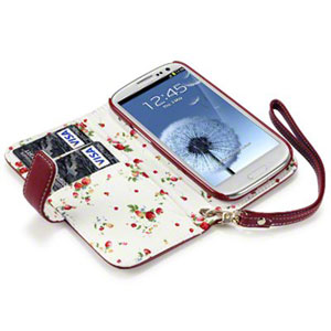 Adarga Leather-Style Samung Galaxy S3 - Floral Red