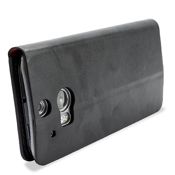 Adarga Leather-style HTC One M8 Wallet Case - Black