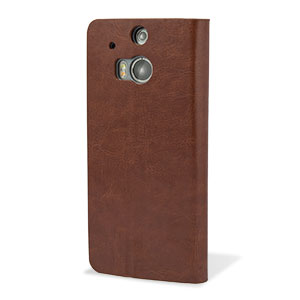 Adarga Leather Style Wallet Stand Case For HTC One M8 - Brown