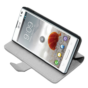 Adarga Stand and Type LG Optimus L9 Wallet Case - White