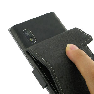 PDair LG Optimus L5 Leather Flip Case - Black