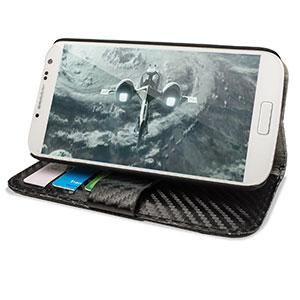 Encase Carbon Fibre-Style Samsung Galaxy S4 Horizontal Flip Case