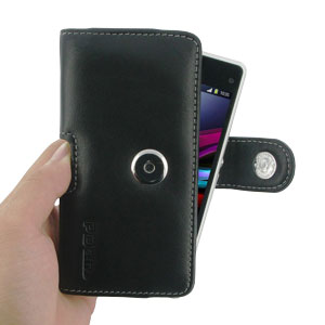 PDair Horizontal Leather Pouch Nokia Asha 210 Case - Black