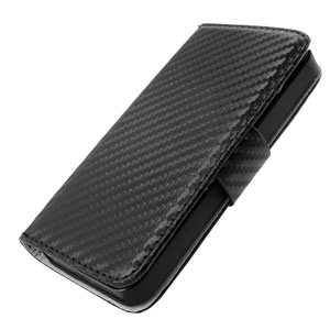Slimline Carbon Fibre-Style iPhone 5S / 5 Horizontal Flip Case - Black