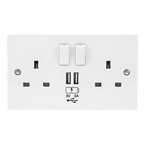 UK Power Socket with USB Charging Wall Plate