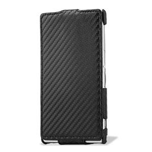 Slimline Carbon Fibre-Style Xperia Z1 Vertical Flip Case