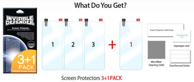 Rearth Invisible Defender 3 Pack Screen Protector for LG G3