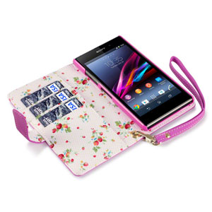 Terrapin Leather Style Sony Xperia Z1 Compact Wallet Case - Pink