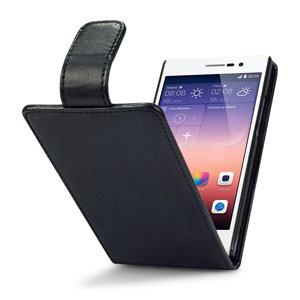 Adarga Leather Style Huawei Ascend P7 Wallet Flip Case - Black
