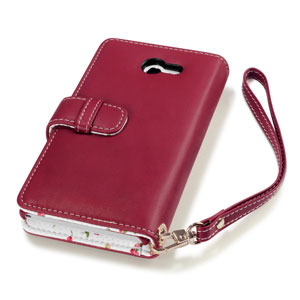 Terrapin Leather-Style Sony Xperia M2 Wallet Case - Floral Red