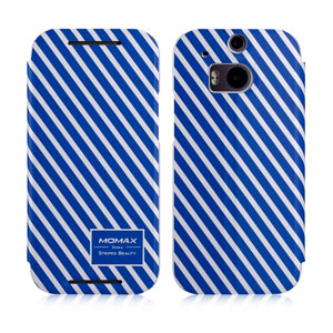 Momax Flip Stand Case for HTC One M8 - Blue / White