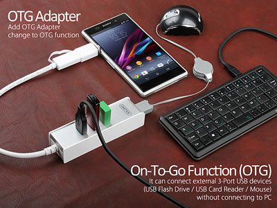 USB 3.0 4-Port Hub with OTG Adapter
