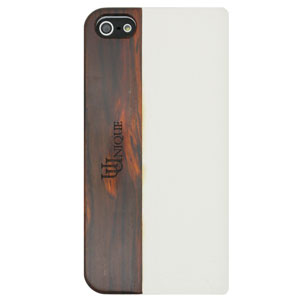 Uunique Textured Leather Case With Wooden Panel for iPhone 5S/5 - Black