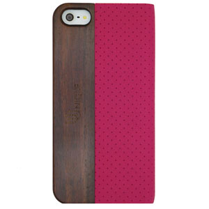 Uunique Textured Case With Wooden Panel for iPhone 5S/5 - Pink