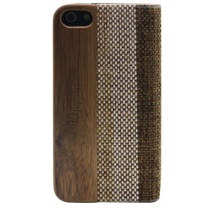 Uunique Textured Case With Wooden Panel for iPhone 5S/5 - Brown