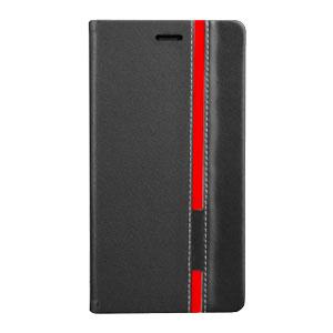 Adarga Premium Wiko Rainbow Wallet Case - Black / Red