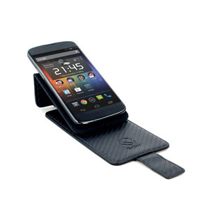 Universal Carbon Fibre Style Smartphone Flip Case and Stand - Black