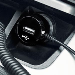 High Power Lightning Car Charger with Extra USB Port - Black
