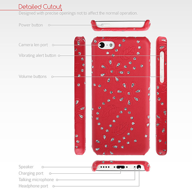 GENx iPhone 5C Bling Case - Red