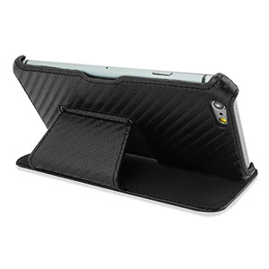 Encase Carbon Fibre-Style Stand Case Stand for iPhone 6 - Black